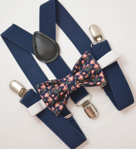 Kids Boys Mens Navy Suspenders /& Navy Blue Floral Bow tie Baby ADULT SET