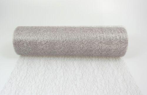 10 m Tischband Gitterband Faserseide silberfarben 25 cm breit Hochzeit