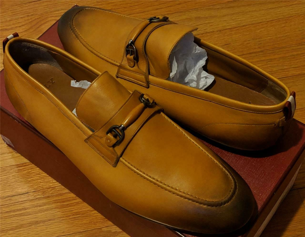 650 Mens Authentic Bally  Plintor  Leather Bit-Strap Loafers Brown US 12 D