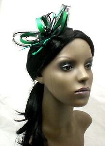Emerald-Green-and-black-fascinator-with-diamante-on-comb-Alice-band-or-clip