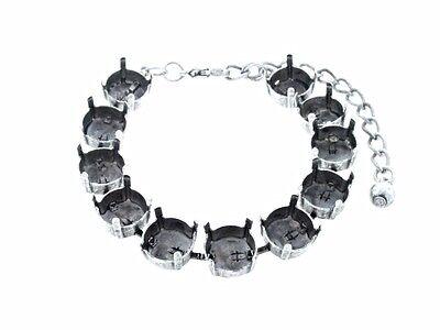 Empty Cup Chain 11 Box Bracelets Hand Set Stones 11mm 48ss 3pcs - Choose Finish