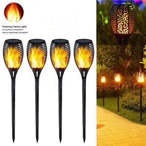 UK 4PCS 96 LED Solar Torch Light Flickering Lighting Dancing Flame Garden Lamps