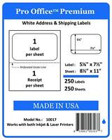 Po17 5k Sheets/5000 Labels Pro Office Selfadhesive Shipping Label With Tear Off
