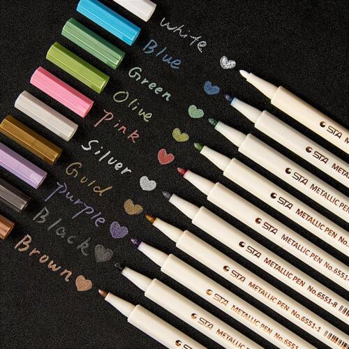 10Pcs Assorted Metallic Paint Marker Pen Markers Set of 10 Colors DIY Brush