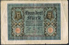 "GERMANY BANKNOTE 100 P69b 1920 F 8 digit letter ""J"""