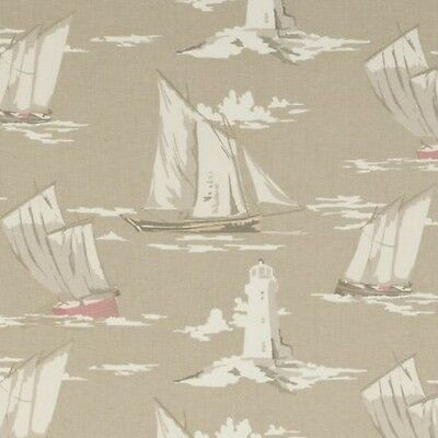 CLARKE AND CLARKE SKIPPER TAUPE SAILING BOAT LIGHTHOUSE FABRIC