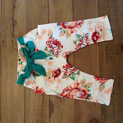 summer outfit. Baby girl floral colourful harem style trousers
