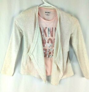 DKNY 2 Pieces Set Girls Size 7 S Pink T-shirt and Oatmeal Heather Light Jacket