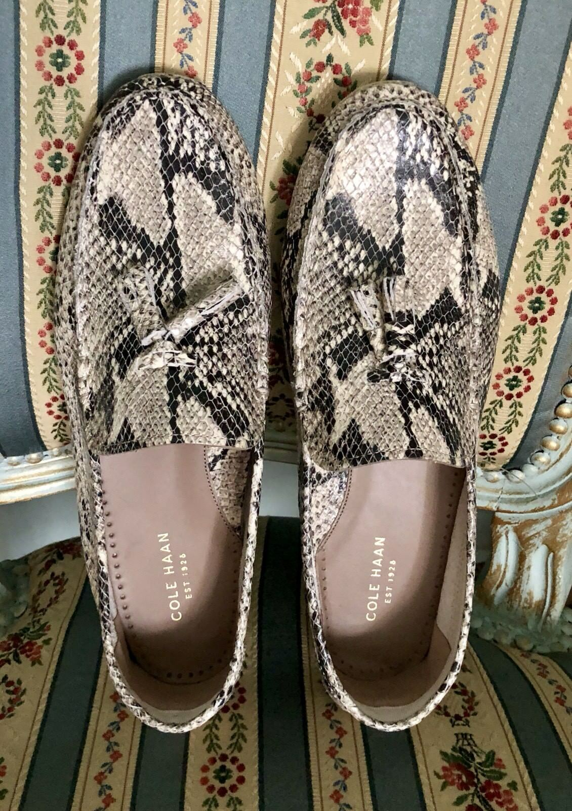 New Cole Haan Leather Leather Leather Snakeskin Beige shoes Size 9 b7bc33