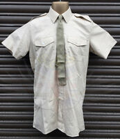 ARMY SURPLUS ALL RANKS FAD G1 FAWN Sht. SLEEVE DRESS SHIRT-GOODWOOD,W&P REVIVAL