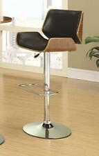 Distressed Wood Back and Black Seat Adjustable Bar Stool Chair by Coaster 130502