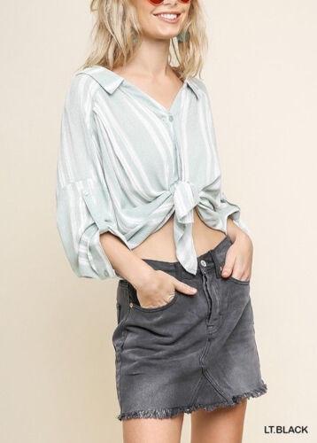 umgee high waist faded black Dark Denim jean Mini Skirt