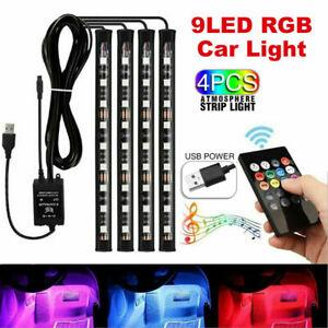 4X-9LED-RGB-Car-Interior-LED-Strip-Lights-Wireless-Remote-Control-Music-5V-USB