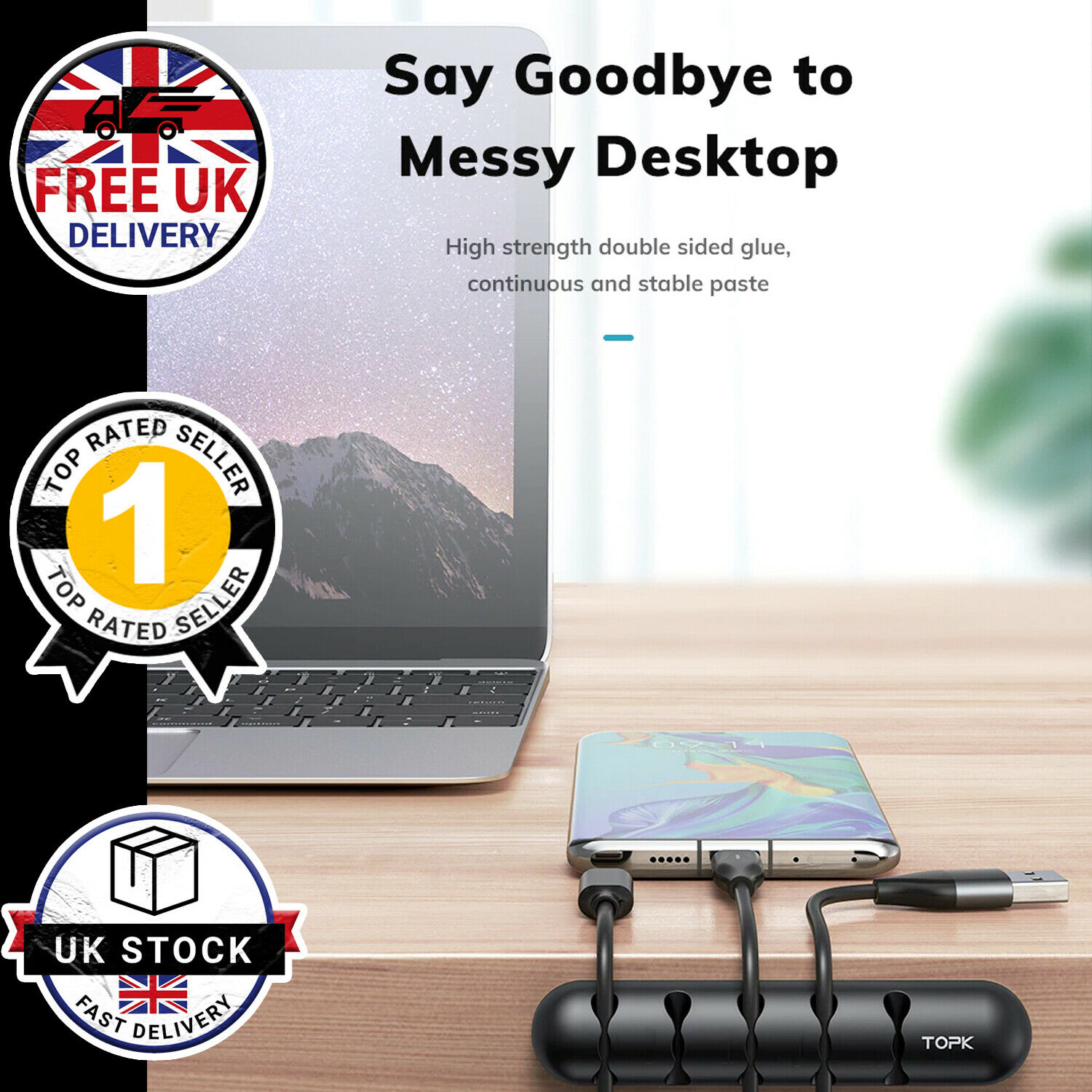 Cable Wire Clip USB Phone Cable Organiser Ties Holder Tidy Desk Office Car TOPK
