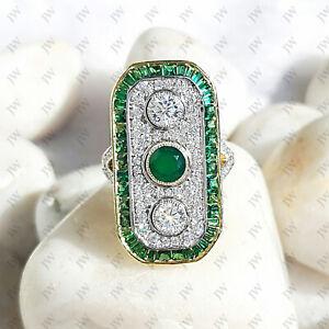 Art Deco Emerald Three Stone Vintage Antique Engagement Ring Silver Circa'1920