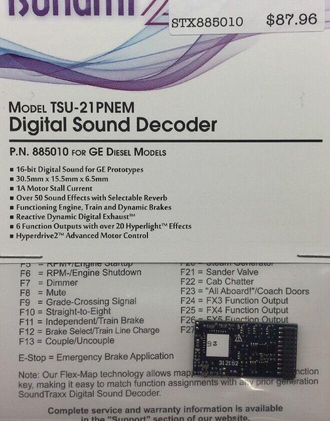 Soundtraxx 885010 Tsunami 2 TSU -21P NEM GE DIESSELS Ljudavkodare modellllerRRSUPLY