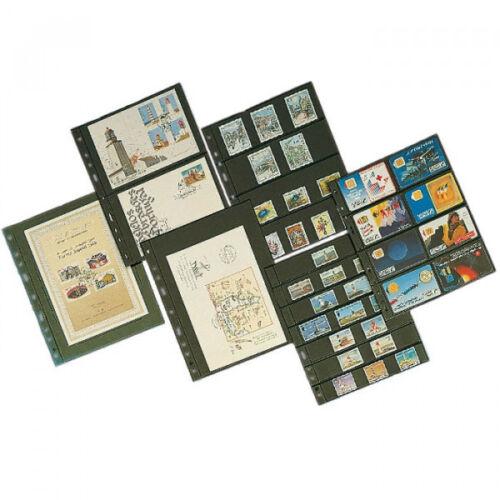 Album sheets OPTIMA 5S Leuchtturm 333229 Black Album Sheets for Stamps Banknote