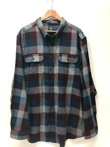 George-Men-Plaid-Flannel-Shirt-Cotton-Green-Blue-Burgundy-Soft-S-L-XL-2XL-3XL