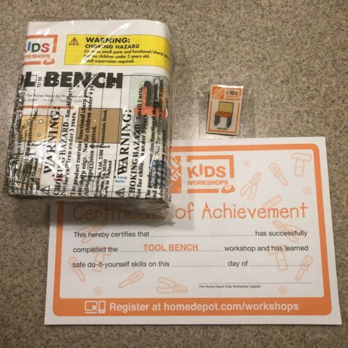 June 2020 Home Depot Kid/'s Workshop Tool Bench Kit with Pin and Certificate