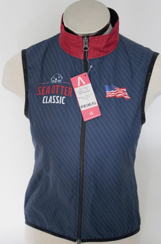 New Primal Women's Wind Vest Sport Cut XL bluee Red Cycling Bike Road Race