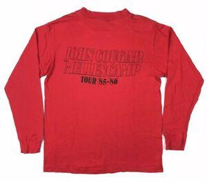 Vtg-80s-John-Cougar-Mellencamp-Mens-Scarecrow-Band-Tour-Red-L-S-T-Shirt-Sz-Large