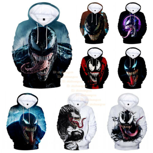 Marvel Venom Spider Man Hoodies Men's Casual Pullover Hoodie Sweatshirt