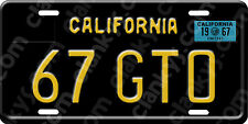 1967 GTO - California Black Plate w/1967 Reg Sticker Alum License Plate USA Made