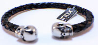 Inox Men's Stainless Steel Brown Bracelet Stitching And Steel Clasp Brlt21