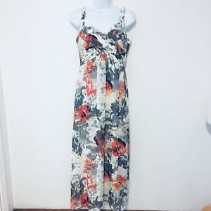 Bethany-Womens-Dress-sz-S-Gray-Multi-Color-Floral-Sleeveless-Maxi-BA16