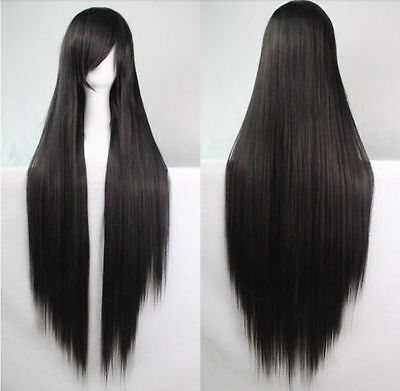 Women's 80cm Long Straight Black Cosplay Costume Wig Heat Resistant Hair Wigs
