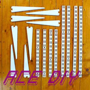 Twin-Slot-Shelving-Uprights-amp-Brackets-White-Strong-Secure-Adjustable-Rack-Shelf