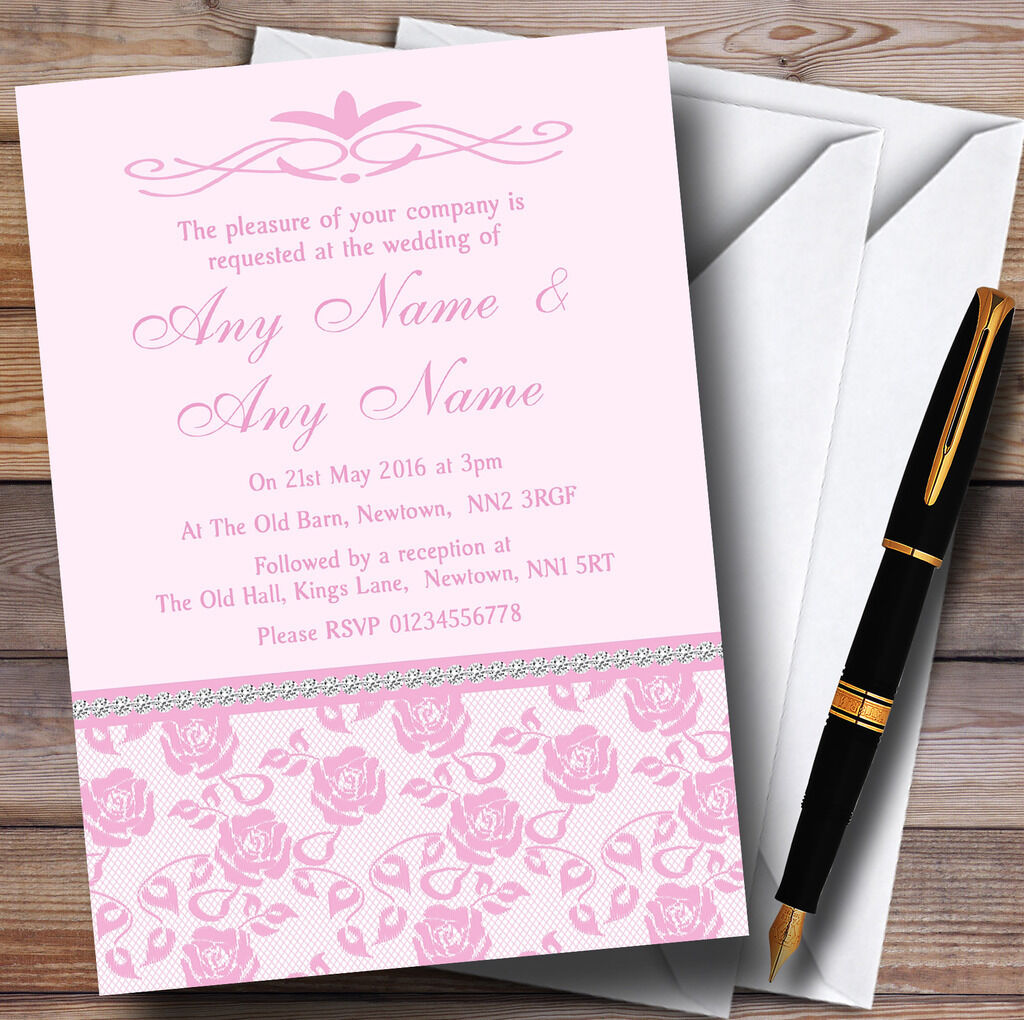 Pretty Pretty Pretty Baby rosado rosado Floral Diamante Personalised Wedding Invitations b6ac51