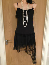 River Island Black Beaded 1920's Flapper Cocktail Cruise Dress Size 10