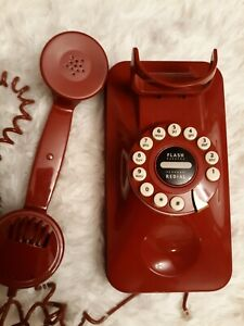 Details about Grand Wall Phone Red Retro 80's Style Pottery Barn Old Fashion