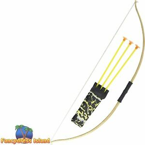 Bow Arrow Set Wooden Robin Hood Native Indian Mens Womens Fancy Dress Accessory