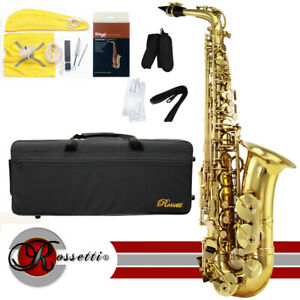 rossetti 1156 l eb lacquered brass student alto saxophone w case cleaning kit ebay. Black Bedroom Furniture Sets. Home Design Ideas