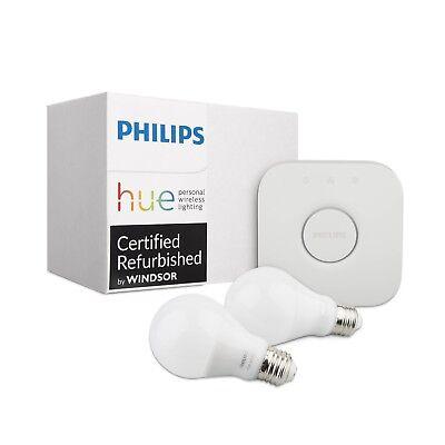 Philips Hue White A19 60W 2nd Gen Starter Kit 2-Pack
