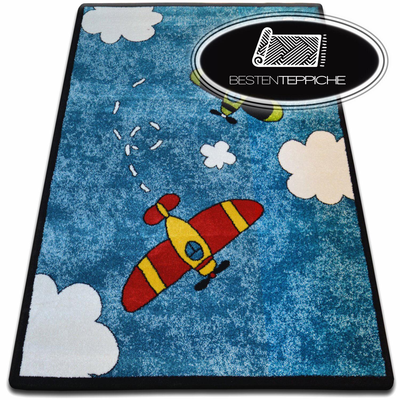 Tapis doux et denses enfants tapis Kids c413 bleu avions