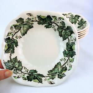 Johnson-Brothers-Vintage-Cream-Green-Ivy-And-Berries-6-Square-Soup-Bowls-England