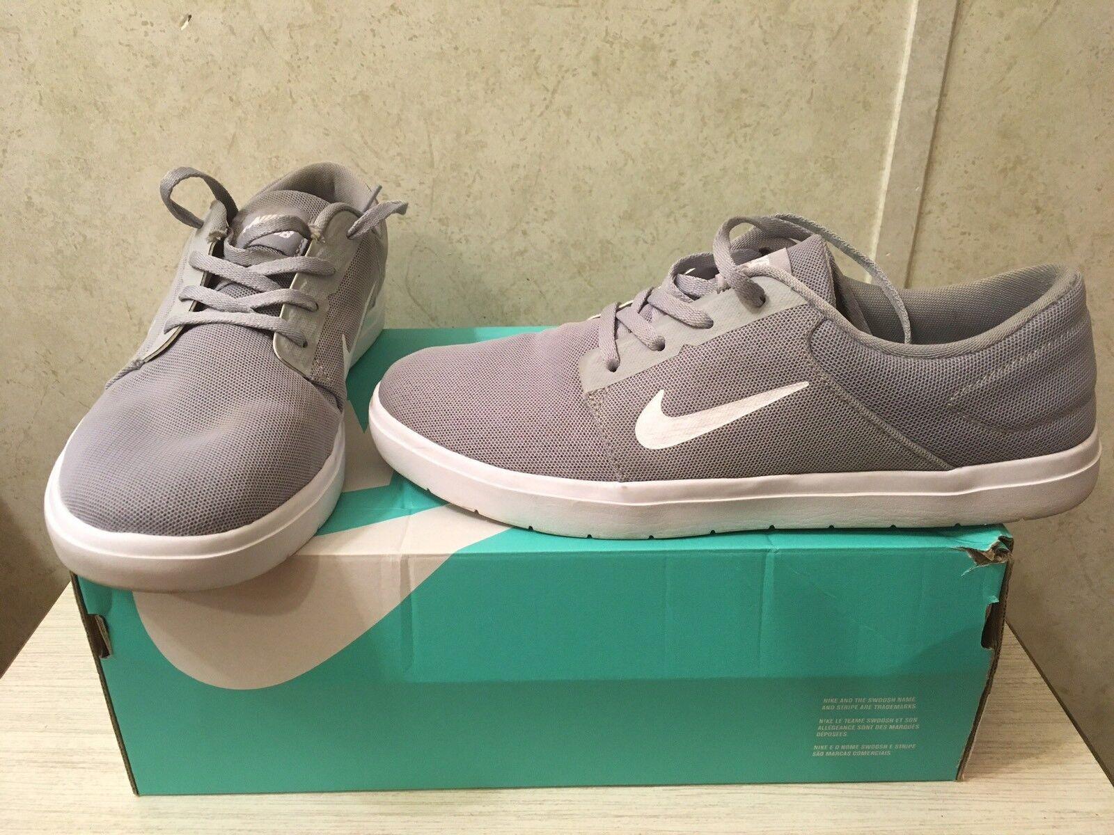 Nike sb portmore ultraleggeri scarpe lupo grigio e bianco bianco bianco fresco scarpe da skateboard dimensioni 8,5 | Buona reputazione a livello mondiale  4598a7