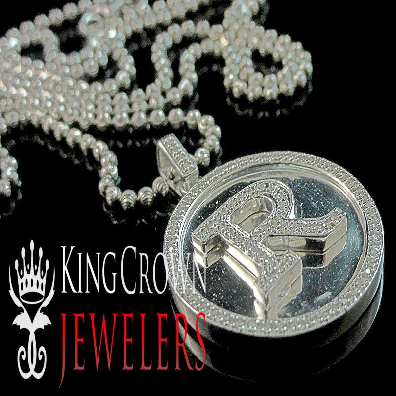 Real Genuine Diamond White gold Finish Initial Letter R Mini Pendant Charm Chain