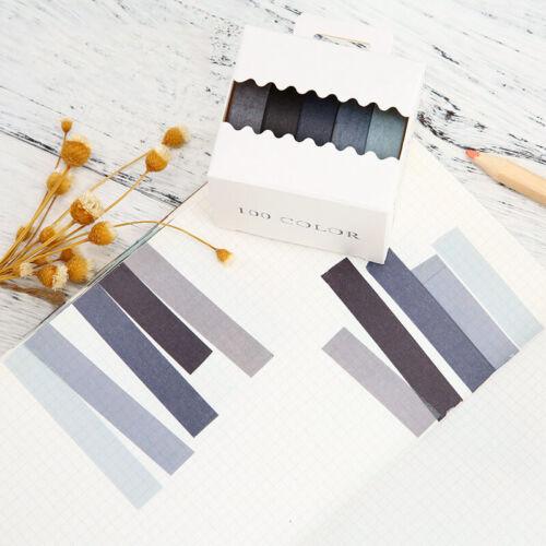 5pcs Rainbow Solid Washi Tape DIY Paper Masking Adhesive Scrapbook Sticker Decor
