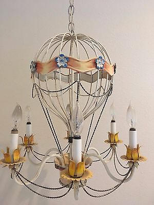 Vintage Italian Hot Air Balloon Chandelier 6 Light 22 Inches High
