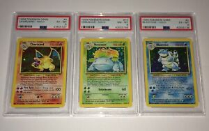 Charizard-Blastoise-Venusaur-Original-Holos-Pokemon-Card-Lot-PSA-Base-Set