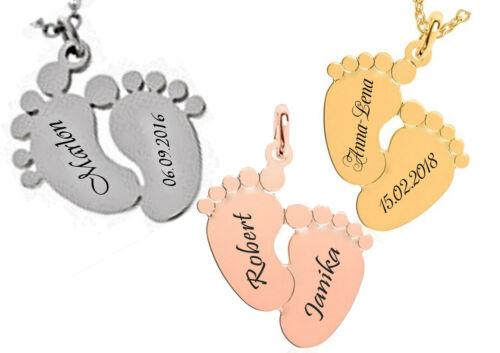 Kette mit Gravur nach Wunsch Edelstahl in 3 Farben Neu ID Anhänger Baby-Füße