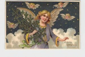 ANTIQUE-POSTCARD-CHRISTMAS-ANGEL-CARRIES-PINE-BOUGH-THROUGH-CLOUDS-EMBOSSED