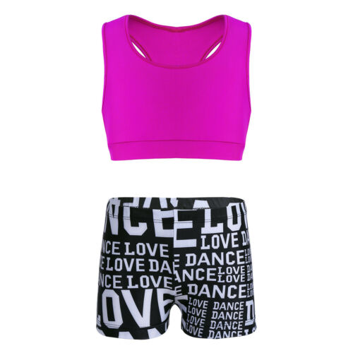 Kids Girls Dance Outfit Crop Tops+Bottom Ballet Gym Swimwear Workout Tank 2PCS