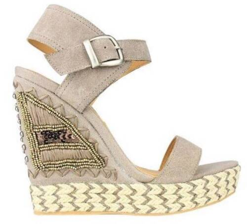 Women/'s Shoes Naughty Monkey MS SUN Wedge Woven Espadrille Sandal Suede Taupe