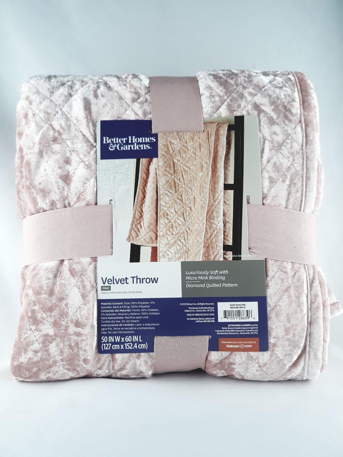 Gray 50x60 Blanket Diamond Quilted Better Homes /& Gardens Crushed Velvet Throw