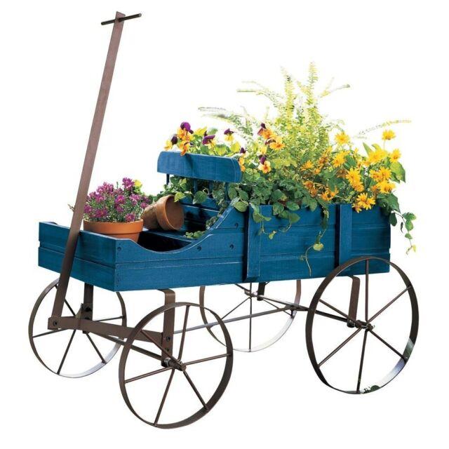 Wood Wagon Wheel Planter Bed Garden Flower Pot Cart Rustic Outdoor Blue  Stand